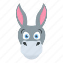 ass, cartoon animal, donkey, mule, okapi icon