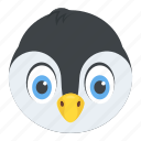animal, auk, emperor penguin, penguin face, puffin icon