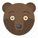 brown bear, forest grizzly bear, mammal, wild animal, wildlife icon