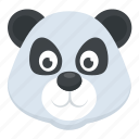 cartoon character, panda bear, panda face, wildlife, zoo animal icon