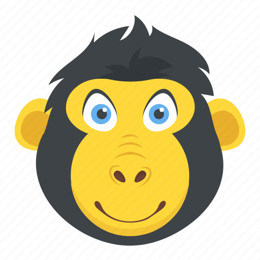 chimpanzee, gorilla, macaque, monkey face, zoo animal icon