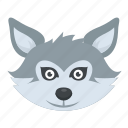 husky dog, snow wolf, werewolf, white fox, wild animal, wildlife icon
