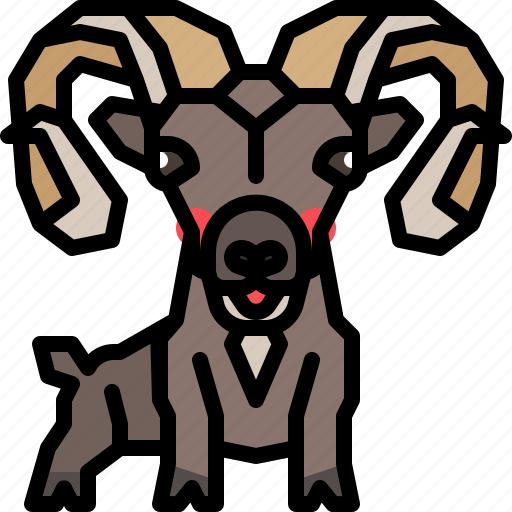 animal, goat, horn, mammal, wildlife icon
