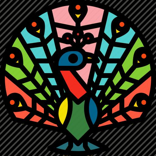 animal, bird, colorful, feather, peacock icon