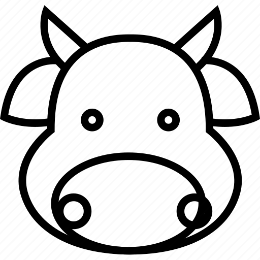 animal, cartoon, cows, face, milk, neck icon