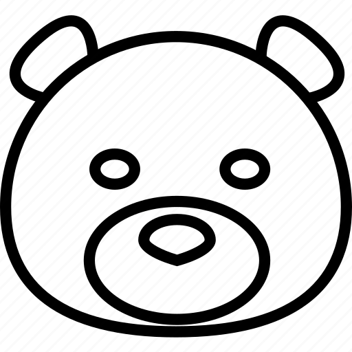 animal, bear, cartoon, face, forest, pet, the zoo icon
