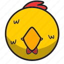 animal, chicken, cute, sphere, yellow icon