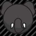 animal, cute, elephant, gray, sphere icon