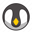 animal, cute, gray, ice, penguin, sphere icon