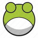 animal, cute, frog, green, sphere icon