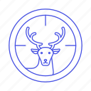 aim, animal, deer, fauna, herbivore, hunting, mamals, target, vertebrate icon