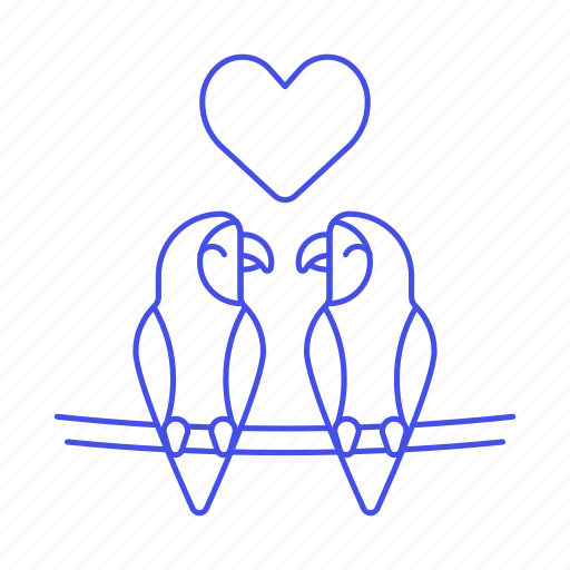 animal, birds, branch, fauna, heart, love, parrots, tree, vertebrate icon