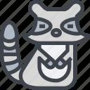 animal, avatar, character, raccoon, wild icon