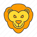 animal, avatar, cute, face, lion icon