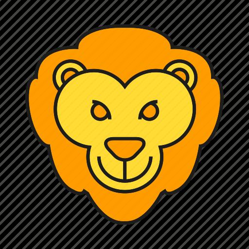 animal, avatar, cute, face, lion icon