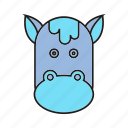animal, bull, bullock, cow, cute, face, ox icon