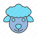 animal, avatar, cute, ewe, face, ram, sheep icon
