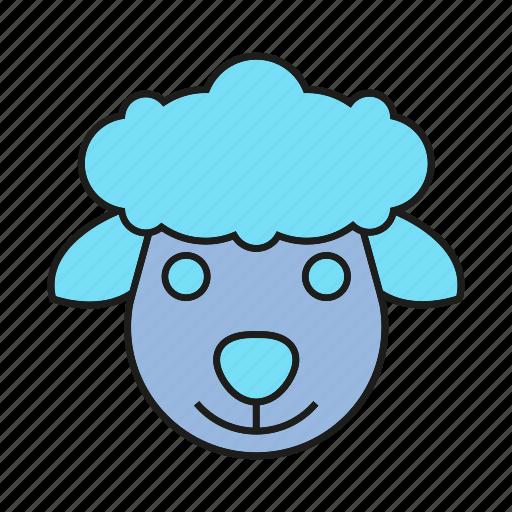 animal, avatar, cute, ewe, face, ram, sheep icon