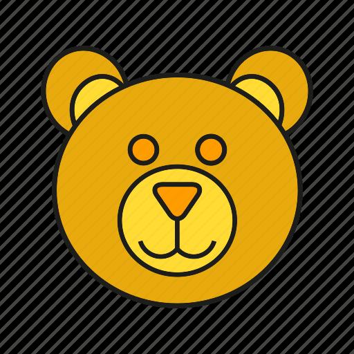 animal, avatar, bear, cute, face icon