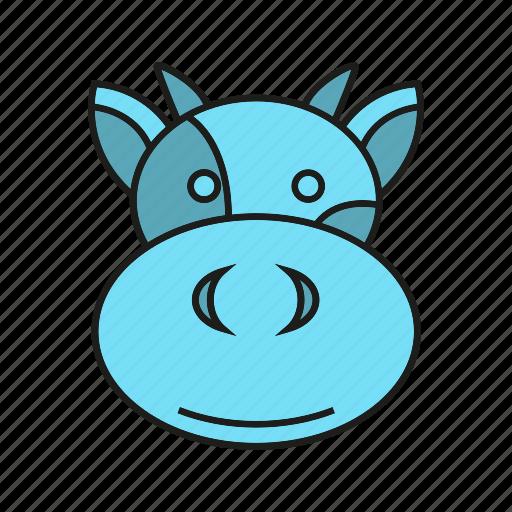 animal, bull, bullock, cow, cute, face, ox icon