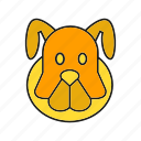 animal, avatar, bulldog, cute, dog, face, pet icon