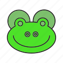 animal, avatar, cute, face, frog icon