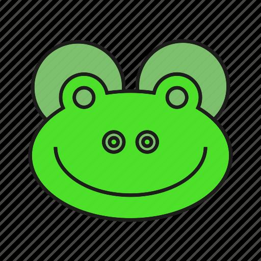 animal, avatar, cute, face, frog icon