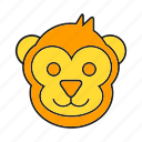 animal, avatar, cute, elf, face, monkey icon
