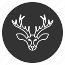 christmas, deer, horns, reindeer, wild animal, winter, xmas icon