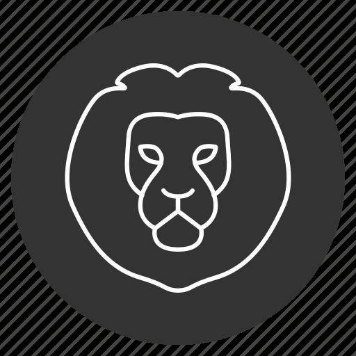 cat, head, king, lev, lew, lion, predator icon