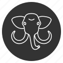 animal, avatar, clever, elephant, head, mammoth, tusks icon