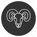 aries, goat, lamb, ram, sheep, wool, zodiac icon