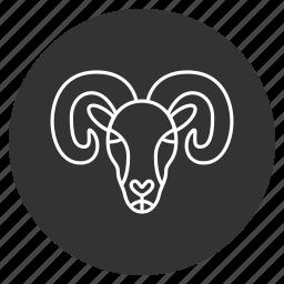 aries, goat, lamb, ram, sheep, wool, zodiac icon