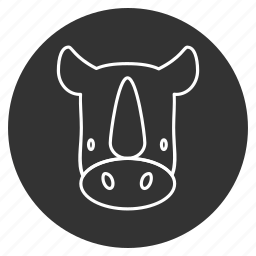 animal, avatar, head, horn, rhino, rhinoceros, unicorn icon