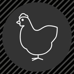 bantam, bird, chick, chicken, cock, cock-a-doodle-doo, hen icon