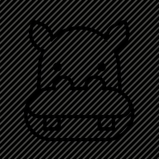 animal, hippo, hippo face, hippopotamus, zoo icon