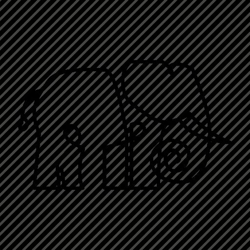 animal, elephant, line, mammals icon