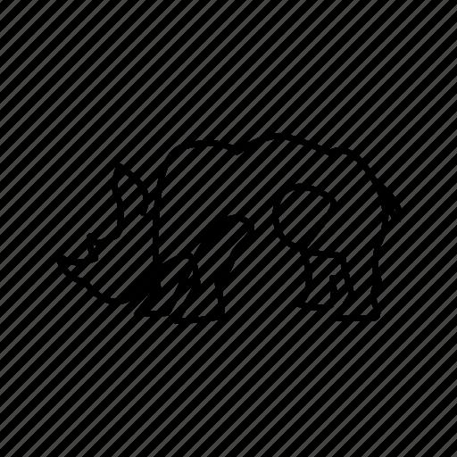 animal, line, mammals, rhino icon