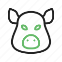 animal, big, face, jungle, mammal, pig, rural icon