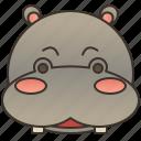 africa, hippo, hippopotamus, mammal, wildlife icon