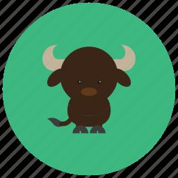 animals, bull, hoofs, horns, tail icon