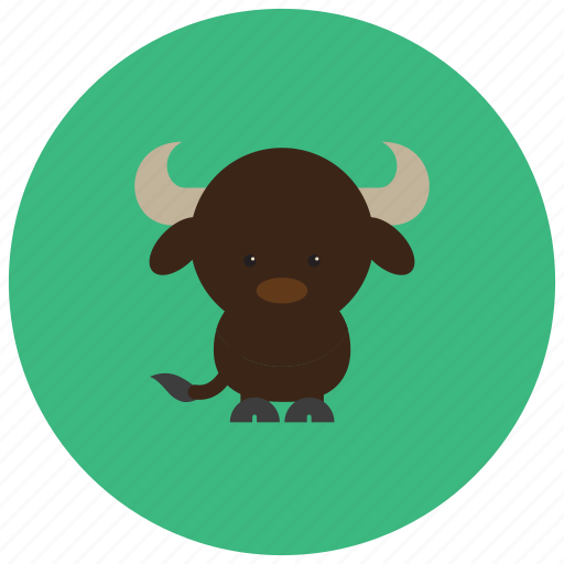 animals, bull, hoofs, horns, tail icon