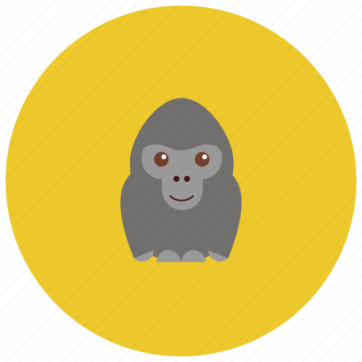animals, cute, gorilla, jungle, smile, zoo icon