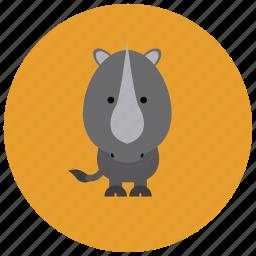 africa, animals, cute, horn, rhino icon