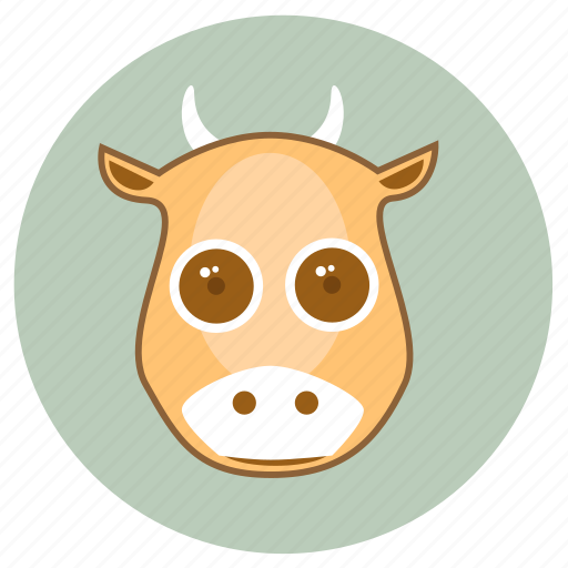 animals, big eyes, cow, cute, face, milk, pets icon