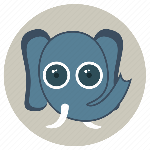 animals, big eyes, cute, elphant, face, pets icon