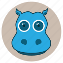 animals, big eyes, cute, face, hippopotamus, pets icon