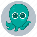animals, big eyes, cute, face, ocean, octopus, sea icon