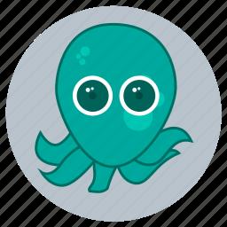 animals, big eyes, cute, face, ocean, octopus, sea icon