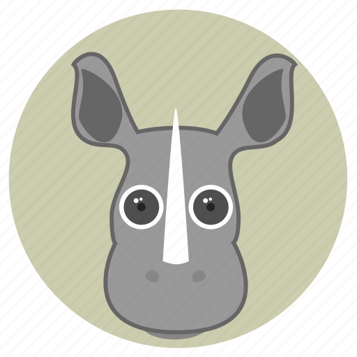 africa, animals, big eyes, cute, face, horn, rhinoceros icon